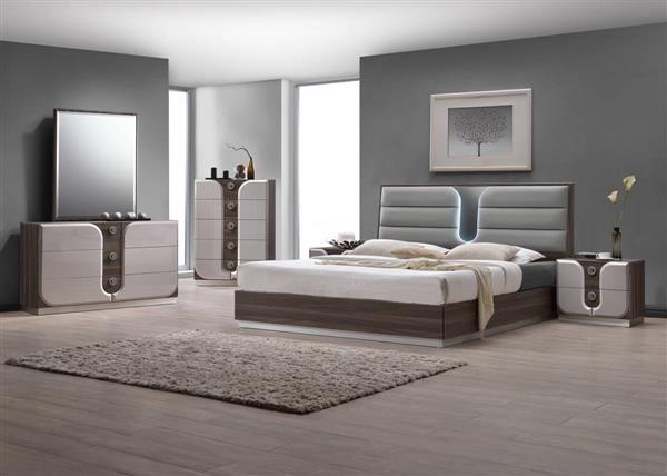 london modern beige wood pu master bedroom set
