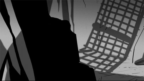 """rufftoon: """" Shadow play 2- more storyboard panels as GIFs Two ideas that got merged into one for the final animation. """" ohhh~~ love how she's using the light and shadow!"""
