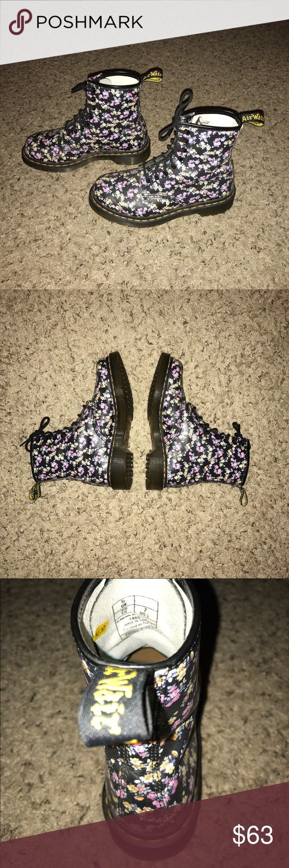 Floral Doc Martens Floral Doc Martens in a size 7 (fit me and I'm a 7.5). I love them, I just don't eat them like they deserve to be worn. There are a few minor scuffs, other than that, they're in great condition and have only been worn a few times. I listed them as Urban Outfitters for visibility. Urban Outfitters Shoes