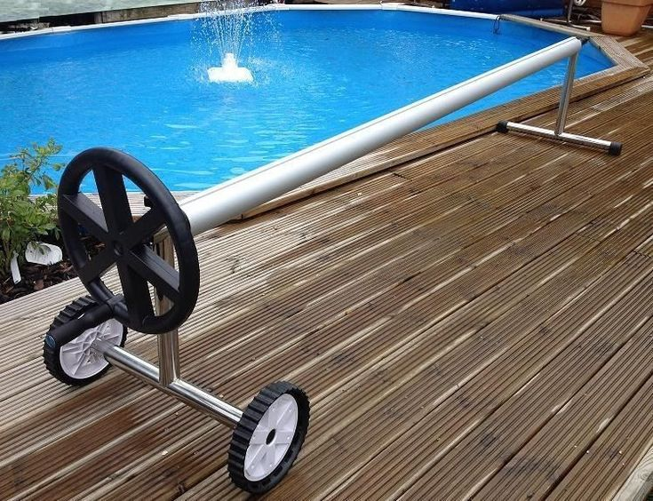 Extra long 21 Ft Stainless Steel Inground Solar Cover Swimming Pool Cover Reel  #Unbranded