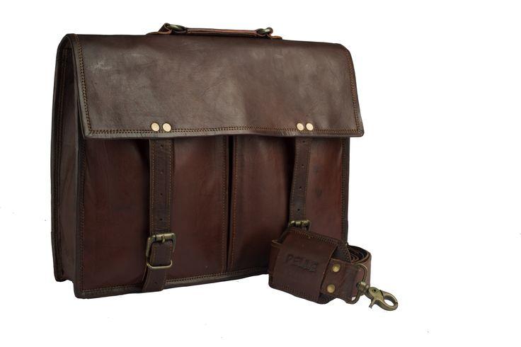 Pelle Handcrafted Leather Messenger Bag, 15inch Mens Work Bag, Satchel , Shoulder Bag , Carry Bag , Cabin Travel Bag