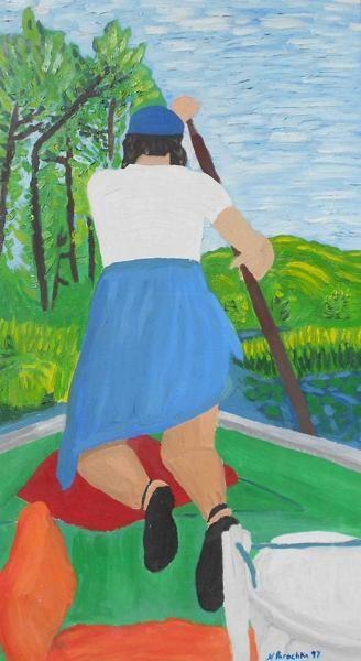 "My Sister at the Cabin 4"" x 6"" signed print by award winning artist Natalee Parochka"