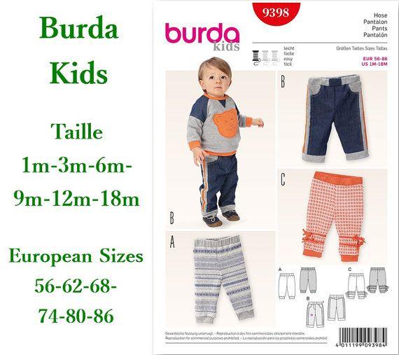 Burda, 9398, Pants, 1m to 18m, pattern, new, uncut, never used
