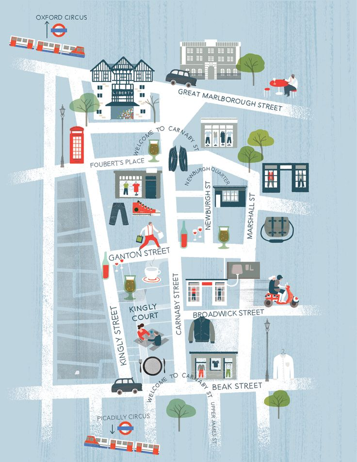 Maggie Li's illustrated map for GQ's Style Night out on Carnaby Street.