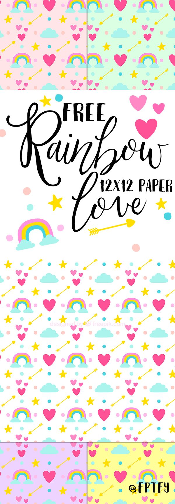 Free Rainbow Love Digital Paper! - Free Pretty Things For You