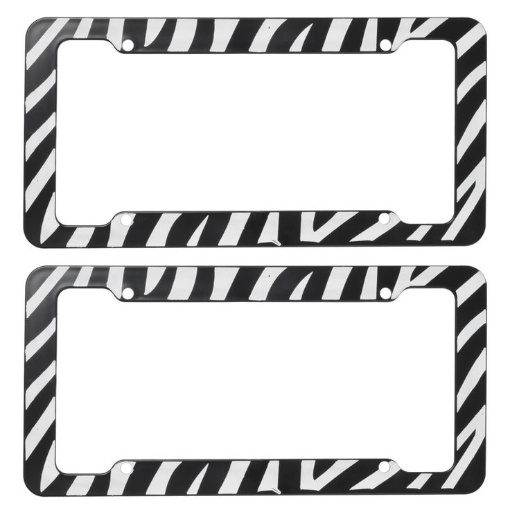 zebra license plate frames set of two made of plastic