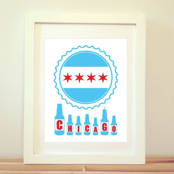 Chicago Skyline Beer Print Chicago Beer by BentonParkPrints