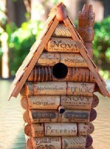 Bird house made of old corks.