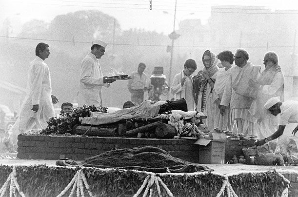 Indira Gandhi, the 4th Prime Minister of India, was assassinated at 9:20 AM on 31 October 1984, at her Safdarjung Road, New Delhi residence.[1][2] She was killed by two of her bodyguards,[3] Satwant Singh and Beant Singh, in the aftermath of Operation Blue Star, the Indian army's June 1984 assault on the Golden Temple in Amritsar which left the temple heavily damaged