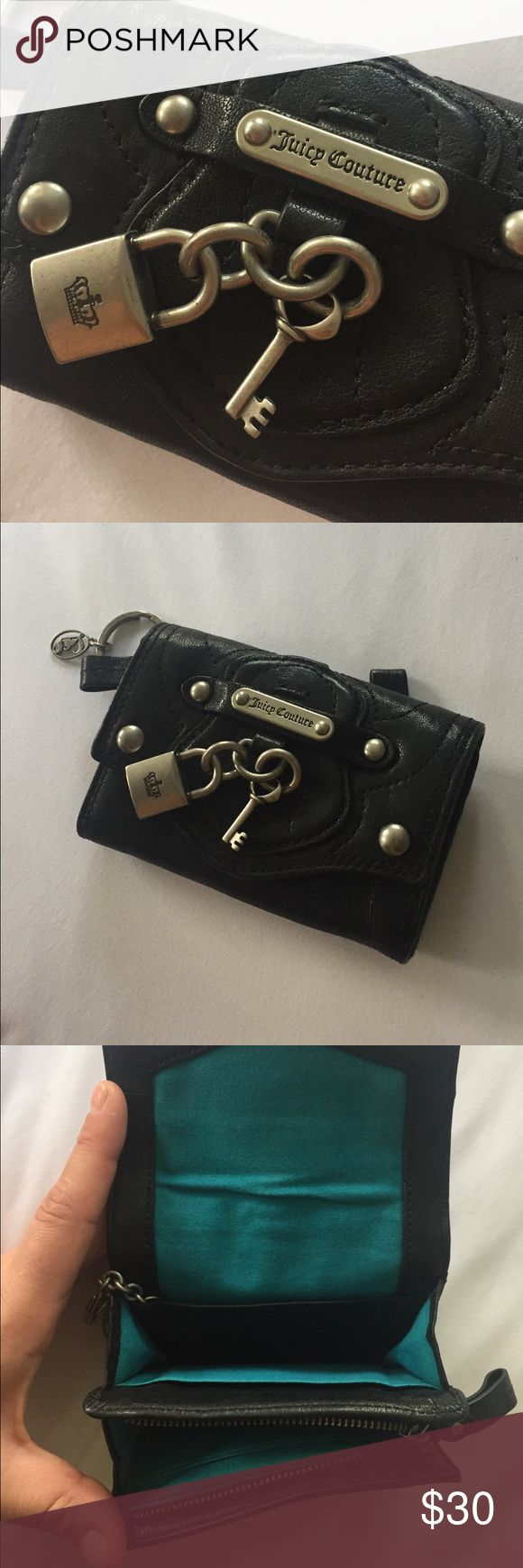 Juicy Couture Charm Wallet Used once, excellent condition. Optional keychain Wallet. Multiple compartments Juicy Couture Bags Wallets