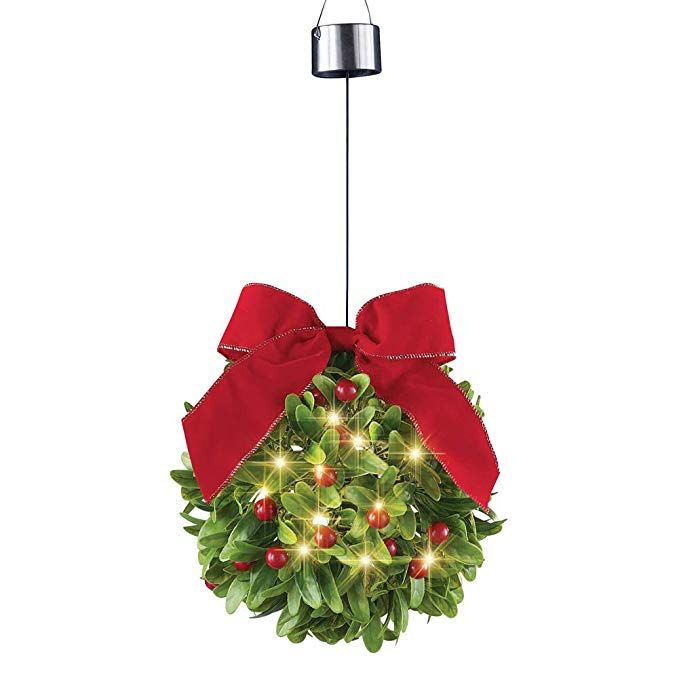 Collections Etc Solar Lighted Mistletoe Ball Bow Outdoor Winter Decoration Festive Holida Christmas Hanging Decorations Christmas Decorations Collections Etc