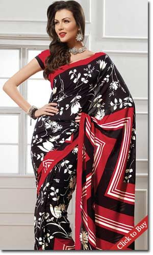 Globalsaridelivery-Stylish-Black-Faux-Georgette-Saree