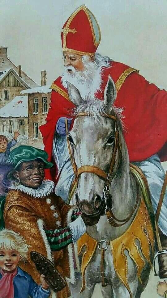Sinterklaas en zwarte piet. ..Dutch habit...like santa claus