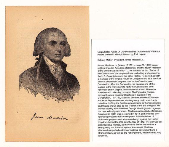 1884 James Madison 4th President Of The U.S. Antique Print