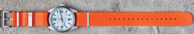 Seaholm Rover Automatic Watch - White Dials with Seaholm Orange NATO strap.
