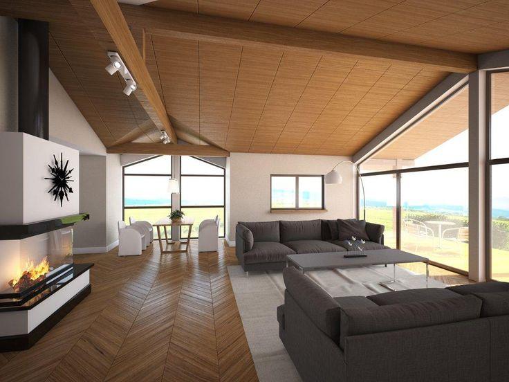 Projeto de casa moderna com teto abobadado nas áreas de estar. Luz natural em abundância, três quartos.