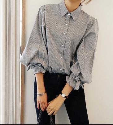 トップス - シャツ/ブラウス - 春秋最新品 可愛い ストライプ バルーン袖 パフ袖 リボンシャツ  OL通勤スタイル