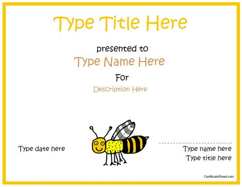 The 25+ best Bee certificate ideas on Pinterest Spelling bee - printable certificate of participation