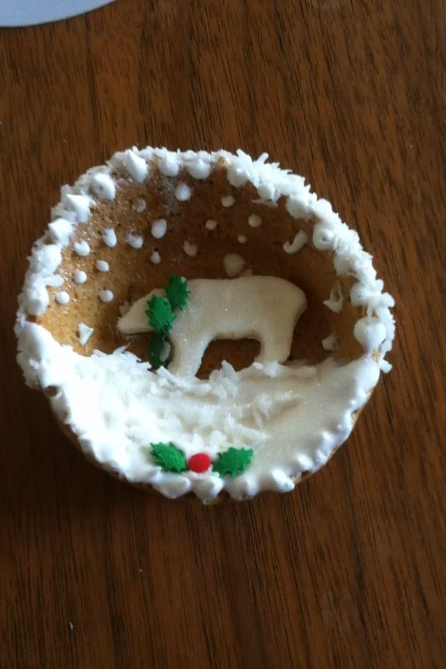 Polar bear Christmas cookie, by Sharon V