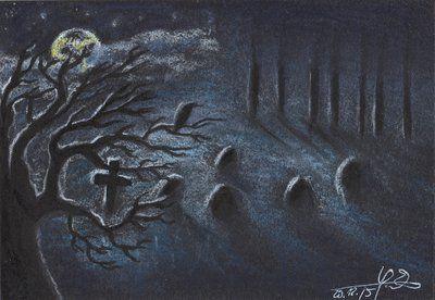 Misty graveyard by Lelixiana