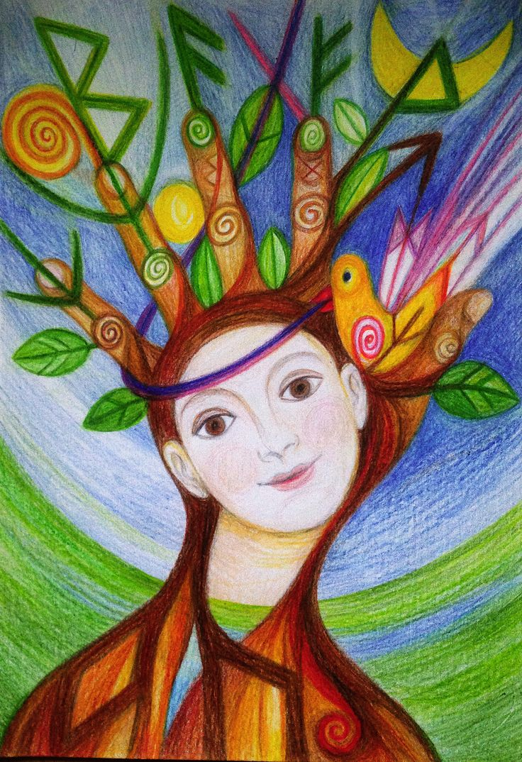 Priestess of Trees by Ivana Axman #goddess #priestess #symbols #pagan #witch #visionaly #wicca #runic art
