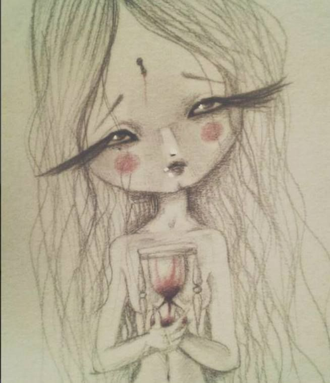 Ci facciamo in quattro per chi ci spezza in due.  #ohmydolls #art #mixedmedia #digital #coloredpencilonpaper #available #dolls #blood #strawberryblood #strawberryjuyce #clown #sadness #sadeyes #hourglass #clepsydra #timeflows #bigheart #dolls #bambola #bambole #doll