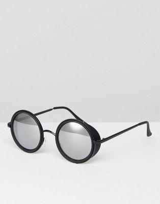 9aa344a3a1 ASOS Round Sunglasses In Matte Black With Side Cap And Mirror Lens