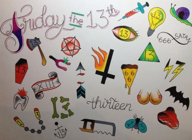 Flash for our Friday the 13th event. $13 tattoos plus Lucky seven dollar tip. Friday, December 13.