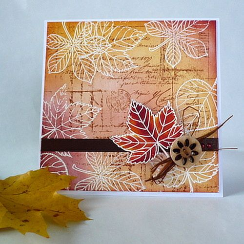 Autumn card created by Penny Black stamps and inks Distress Ink