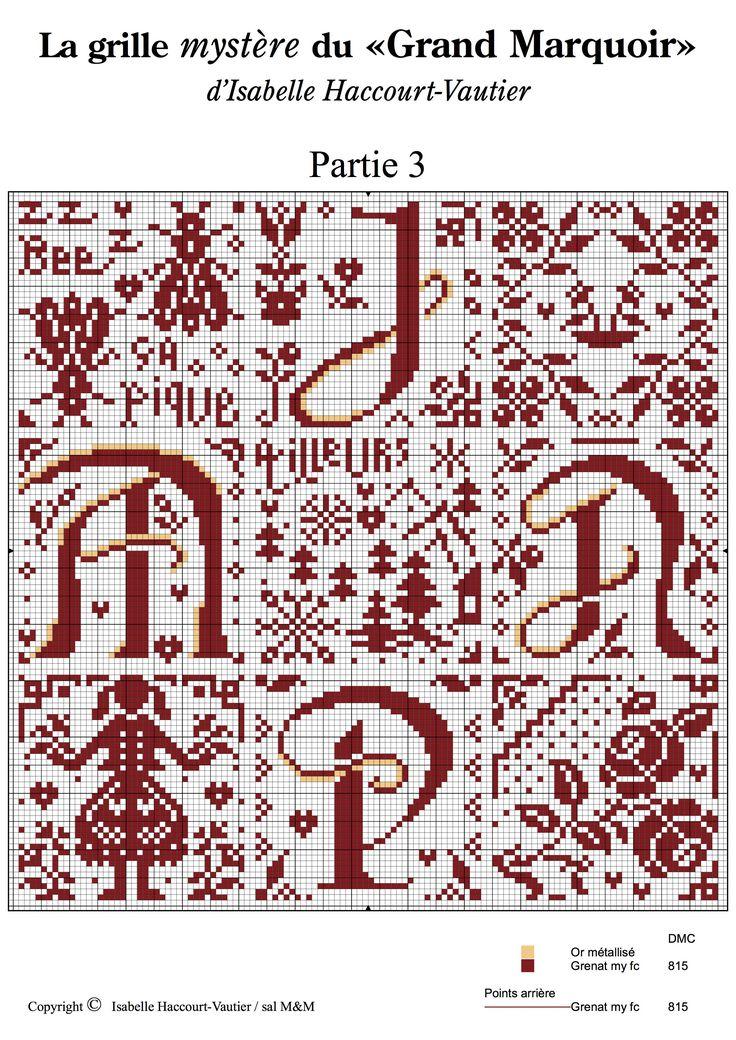 Cross stitch / Point de croix / Punto cruz / Punto croce - alphabet / abécédaire / abecedario / alfabeto - chart / grille / scheme - Grand Marquoir d'Isabelle Vautier - part 3 of 6