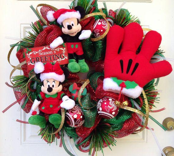 Navidad guirnalda Mickey y Minnie Mouse por SparkleForYourCastle                                                                                                                                                                                 Más