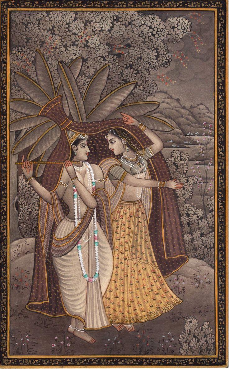Krishna Radha Miniature Art Handmade Hindu Indian Ethnic Religious Folk Painting