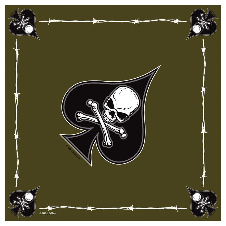 "Military Print Bandanas - 22"" USMC, Death Spade Jolly Roger Pirate Biker Bandana"
