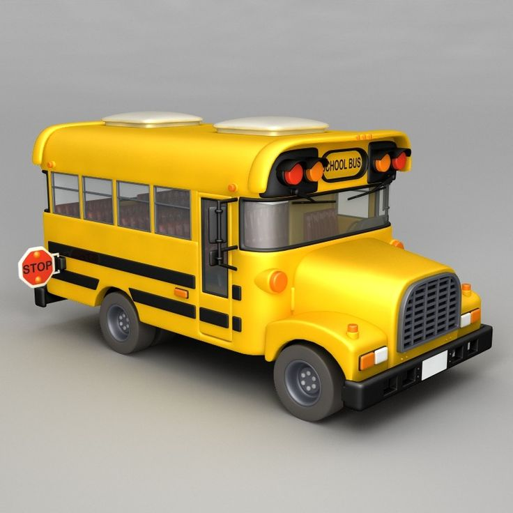 cartoon school bus 3d model