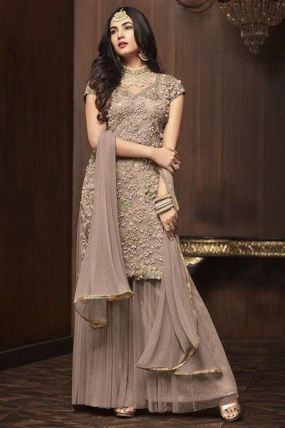 2d2a73911d Sonal Chauhan Designer Wedding Wear Sharara Dress In Net Fabric ...