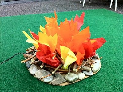 A storytime classroom campfire. I might have pebbles or flames of different colours (differentiated) with questions on about the story.