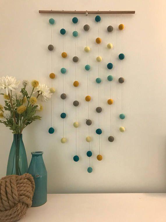 Wall Hanging / Farmhouse Decor / Woven Wall Hanging / Felt Ball Hanging / Felt Wall Hanging