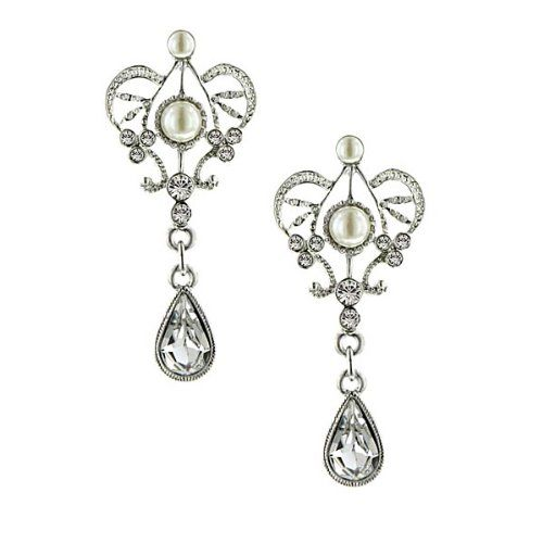 Amore Queens Cut Bridal Earrings Silver Tone  - Click image twice for more info - See a larger selection of bridal jewelry at http://zweddingsupply.com/product-category/jewelry/ -  woman, wedding fashion, wedding style, bride accessories, wedding ideas