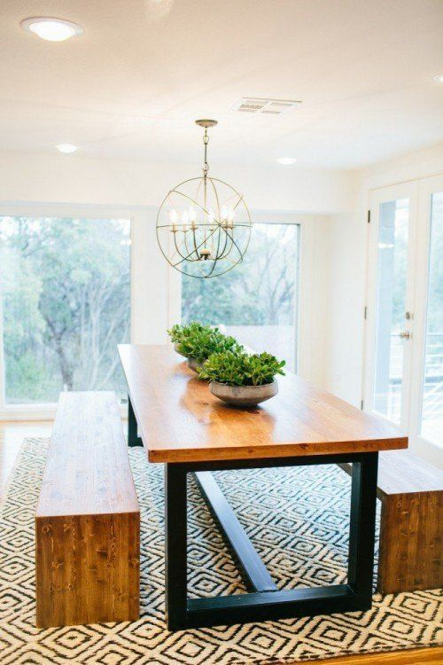 This table is amazing! Light fixture, benches and rug!!  Episode 12 | Faceless Bunker | Fixer Upper