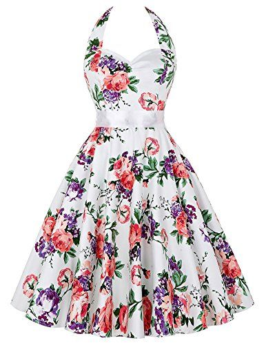 Womens Retro Halter Neck Floral Picnic Party Dress JS60752 S -- To view further for this item, visit the image link.
