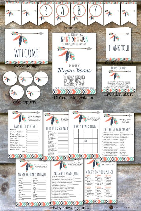 Tribal Baby Shower Party Package  Tribal by OakCityPaperCompany