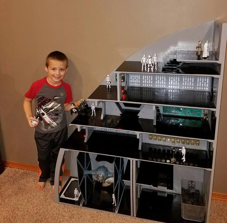 Scratch built Star Wars Death Star playset constructed by Chris Elliot for his son, Nick.