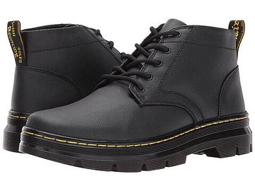 Dr.Martens Bonny 5eye Chukka boots for men and ladies. An edgy and urban update to a classic British boot style that dates back to the campaigns in North Africa in WW2. Adopted by the the Teddy Boys in the 1950s and generations after that it remains a timeless style. Black waxy deconstructed canvas with classic Docs DNA non slip welted sole make these great for work or play. UK 3-13. On sale. Dm for details.   #drmartens #chukka #desert #boots #classic #english #style #teddyboy #punk #mod…