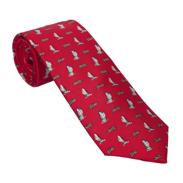 Perfect summer tie. Southern Proper Red with Boat Shoes and Sail Boats. #TieTry