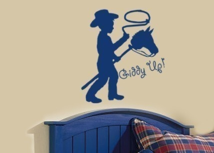 Wall decal sticker with giddy up words quote boys bedroom wall art