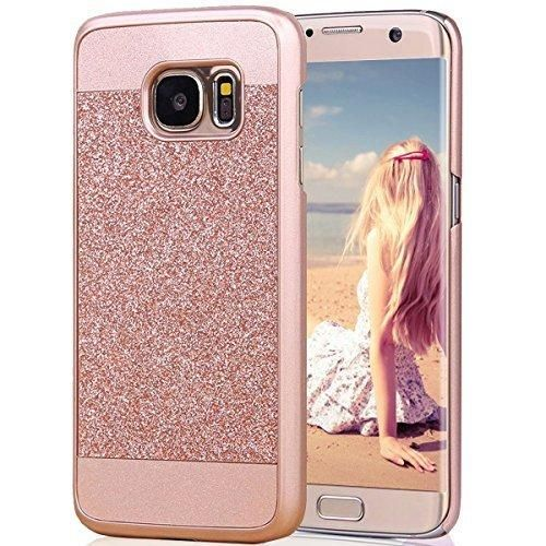 Galaxy S7 Edge Case Imikoko Rose Gold Luxury Hybrid Beauty Crystal Rhinestone With Gold Sparkle Glitter PC Hard Diamond Case Cover For Samsung Galaxy S7 Edge (Rose Gold) (Rose Gold)