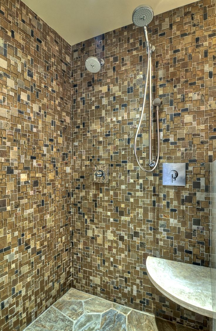 Modern Master Bathroom: Organic Materials, Natural Materials, rustic modern, modern bathroom, modern shower, glass enclosed shower, mosaic stone shower wall, flag stone shower floor floor, modern fixtures, modern faucets, modern recessed can lights.