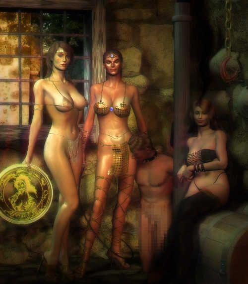 Hot amazonian women catching male slave.