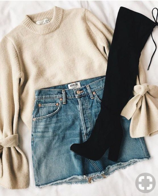 tie sleeve sweater, denim skirt, and over the knee boots