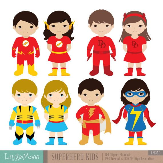 Superhero Art For Little Boys: 36 Kids Superhero Costumes Clipart, Superheroes Kids